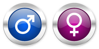 Male female gender icon. Set on white background Royalty Free Stock Image