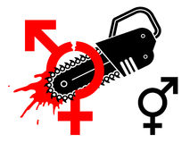 Male and female gender symbol separated with chain Stock Image
