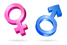 Male female gender symbols. Isolated illustrations of male and female gender symbols Stock Image