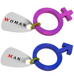 Male female gender symbols. Male female 3d gender symbols Stock Photos