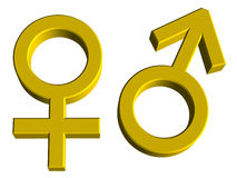 Male and Female Gender Symbols Stock Photo