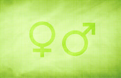 Male and female gender symbols background Stock Images