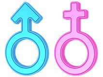 Male and female gender symbols of blue and pink colors on white Royalty Free Stock Photos
