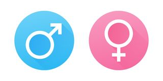 Male and female gender symbols. Flat design vector icons. Pink and Blue Gender Signs Royalty Free Stock Photo