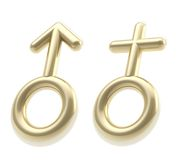 Male and female golden sign isolated on white Stock Photography