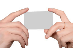 Male and female hand holding a blank card Stock Images