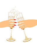 Male and female hand holding champagne glasses Royalty Free Stock Photos