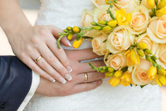 Male and female hand with rings.  Royalty Free Stock Photography