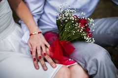 Male and female hand with a wedding ring Royalty Free Stock Image