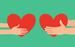Male and female hands giving heart Stock Photos