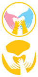 Male and female hands have created a heart shape. Child's hands touch the heart. Symbol Stock Illustration