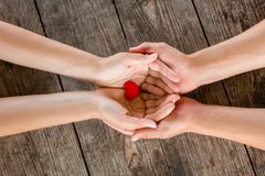 Male and female hands holding red heart on wooden background.  royalty free stock image