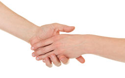 Male and female hands (palms) Stock Photography
