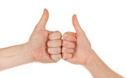 Male and female hands (palms). In different gestures Royalty Free Stock Photography