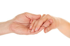 Male and female hands (palms) Stock Images