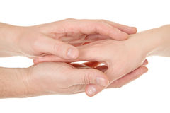 Male and female hands (palms). In different gestures Stock Photo