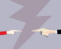 Male and female hands with pointing finger directed at each other. Vector illustration. Concept of arguing, accusation, business r Stock Photo