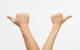 Male and female hands showing different direction Stock Images
