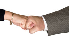Male and female handshake Stock Images