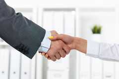 Male and female handshake in office. Businessman in suit shaking woman's hand. Serious business and partnership concept. Partners made deal, sealed with Stock Image