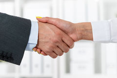Male and female handshake in office. Businessman in suit shaking woman's hand. Serious business and partnership concept. Partners made deal, sealed with Royalty Free Stock Photography