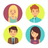 Male and female happy faces avatars for chats or forum stock illustration