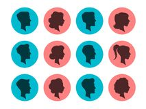 Male and female head silhouettes. Avatars, people face profile. Person vector icons stock illustration