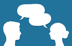 Male and female heads in conversation. Facing each other with overlapping speech bubbles conceptual of communication, discussion, teamwork, chatting or forums vector illustration