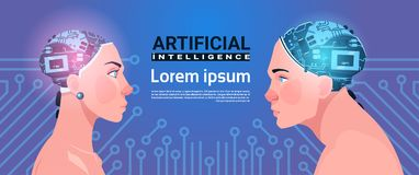 Male And Female Heads With Modern Cyborg Brain On Circuit Background Artificial Intelligence Concept Stock Images