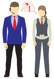 Male and female with headsets. Call center. Support service. Royalty Free Stock Photo