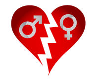 Male and female heart Stock Photography