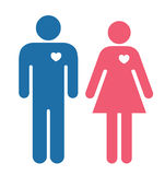 Male and Female with hearts Stock Image