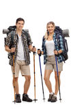 Male and female hiker posing with hiking equipment Royalty Free Stock Photos