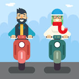 Male Female Hipster Happy Smiling Character Retro Stock Photo