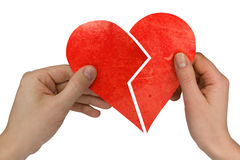 Male and female holding broken heart Stock Photos