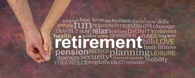 You and me retiring together word cloud. Male and female holding hands with a RETIREMENT word cloud against a warm coloured rustic background royalty free stock photos