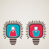 Male female icon in bulb Royalty Free Stock Image