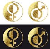 Male female Icon. In gold Royalty Free Stock Photography