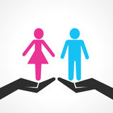 Male and female icon on hand Royalty Free Stock Images