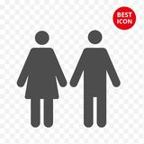 Male female icon. Isolated man women symbol. Couple vector flat style. Simple line design. Modern minimalism concept. For toilet room bathroom locker rooms gym royalty free illustration
