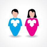Male and female icon with love sign Royalty Free Stock Image
