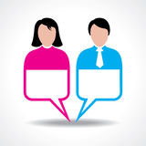 Male and female icon with message bubble Royalty Free Stock Images