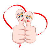 Male and female icon on thumb Stock Image