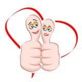 Male and female icon on thumb. Illustration of male and female icon on thumb with heart on white background stock illustration