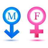 Male and female icons Stock Photos