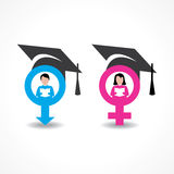 Male and female icons with graduate cap Stock Photos