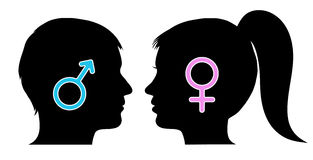 Male and female icons in silhouettes Royalty Free Stock Photos