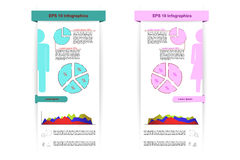 Male and female infographics with ribbons, pie graphs, row graph Royalty Free Stock Images