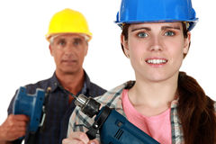 Male and female laborers Royalty Free Stock Photos