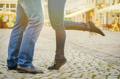 Male and female legs during a date Royalty Free Stock Image